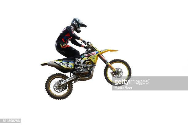 Mike Stender of Germany in action during the International German Motocross Championships on July 15 2017 in Tensfeld Germany