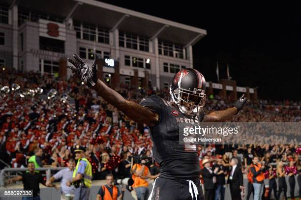 Mike Stevens of the North Carolina State Wolfpack reacts after breaking up a pass against the Louisville Cardinals during the game at Carter Finley...