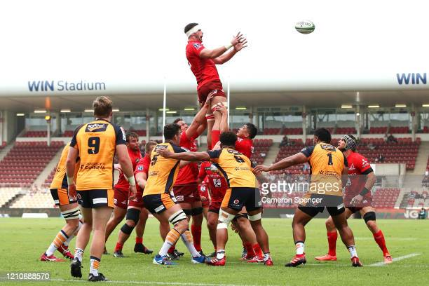 Mike Stolberg of the Sunwolves takes a lineout ball during the round six Super Rugby match between the Sunwolves and the Brumbies at WIN Stadium on...