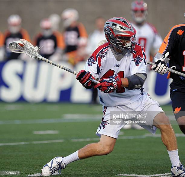 Mike Stone of the Boston Cannons gears up to fire a shot against the Toronto Nationals on July 24 2010 at Harvard Stadium in Boston Massachusetts...