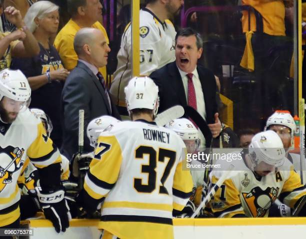 Mike Sullivan of the Pittsburgh Penguins handles bench duties against the Nashville Predators in Game Six of the 2017 NHL Stanley Cup Final at the...