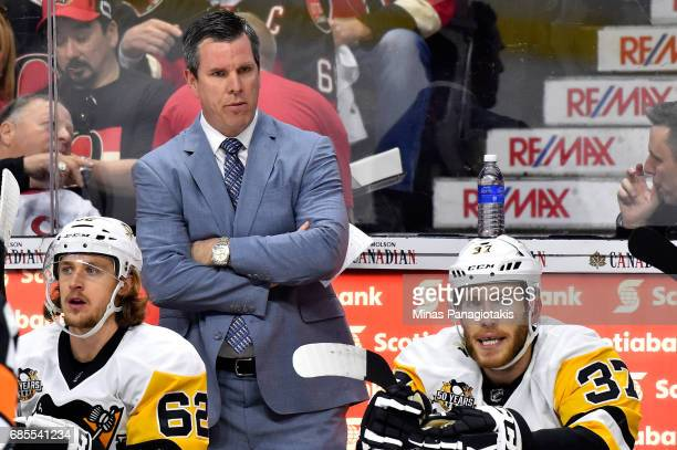Mike Sullivan of the Pittsburgh Penguins looks on against the Ottawa Senators during the first period in Game Four of the Eastern Conference Final...
