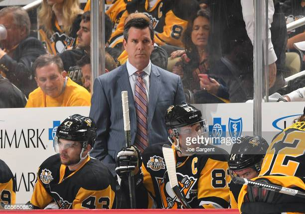 Mike Sullivan of the Pittsburgh Penguins looks on against the Ottawa Senators in Game Two of the Eastern Conference Final during the 2017 NHL Stanley...