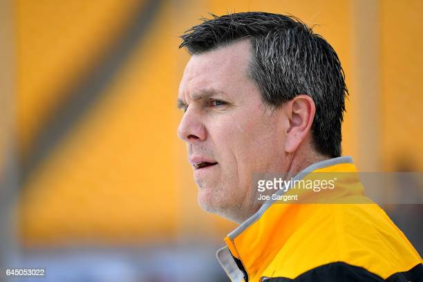 Mike Sullivan of the Pittsburgh Penguins looks on during practice at Heinz Field on February 24 2017 in Pittsburgh Pennsylvania