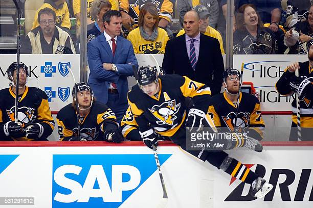 Mike Sullivan of the Pittsburgh Penguins looks on from the bench during the first period against the Tampa Bay Lightning in Game One of the Eastern...