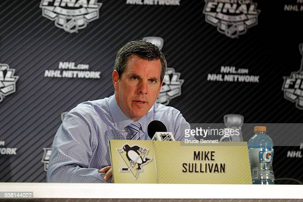 Mike Sullivan of the Pittsburgh Penguins talks with the media during a press conference after Game Three of the 2016 NHL Stanley Cup Final at SAP...