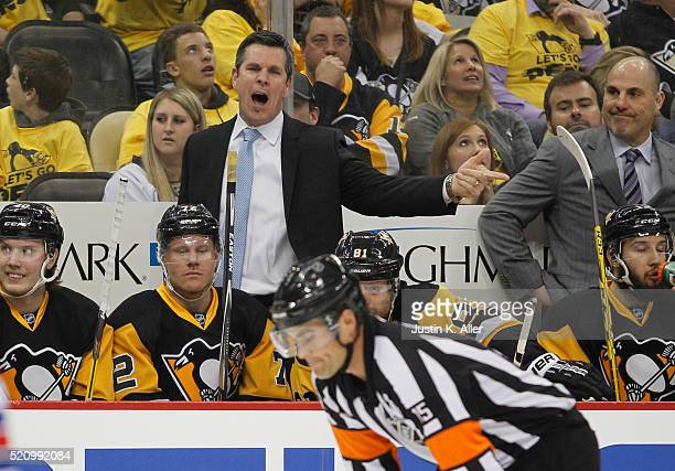 Mike Sullivan of the Pittsburgh Penguins yells at the referee in Game One of the Eastern Conference Quarterfinals during the 2016 NHL Stanley Cup...