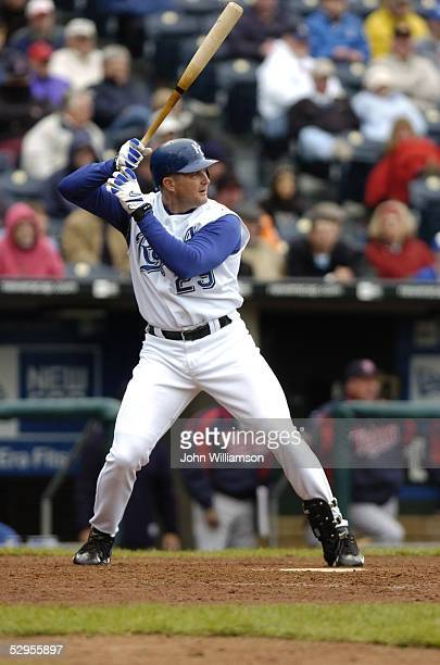 Mike Sweeney of the Kansas City Royals bats during the game against the Minnesota Twins at Kauffman Stadium on April 28 2005 in Kansas City Missouri...