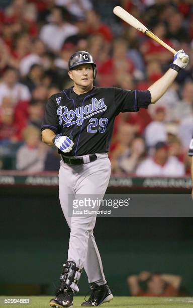 Mike Sweeney of the Kansas City Royals reacts after striking out in the third inning against the Los Angeles Angels on May 28 2005 at Angel Stadium...