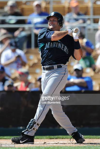 Mike Sweeney of the Seattle Mariners at bat during a Spring Training game against the Los Angeles Dodgers at Camelback Ranch on March 7 2009 in...