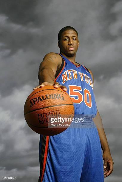 Mike Sweetney of the New York Knicks poses during the 2003 NBA Rookie shoot at the MSG Training Facility on August 7, 2003 in Tarrytown, New York....