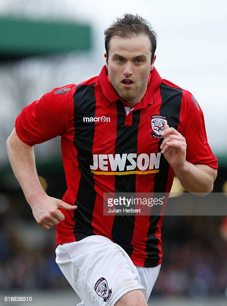 Mike Symons of Hereford during the FA Vase Semi Final Second Leg Match between Salisbury and Hereford at The Ray Mac Stadium on March 19 2016 in...