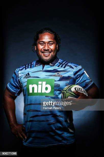 Mike Tamoaieta poses during the Blues Super Rugby headshots session at Blues HQ on January 17 2018 in Auckland New Zealand
