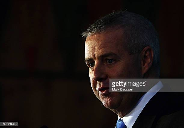 Mike Tancred the AOC Media Director speaks during a press conference announcing the Australian shooting team for the Beijing 2008 Olympic Games at...
