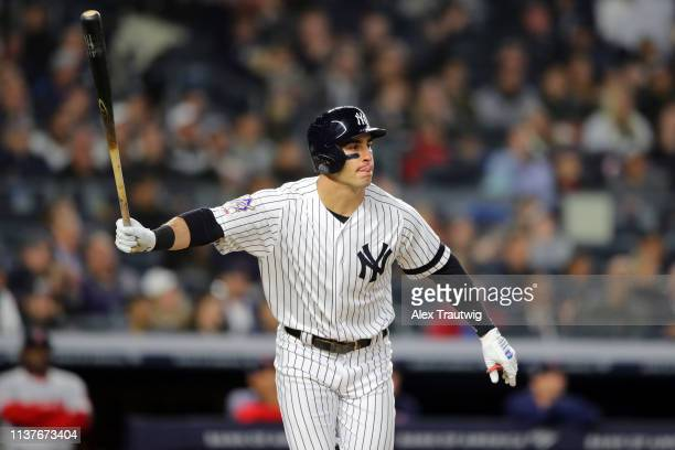 Mike Tauchman of New York Yankees hits a tworun home run in the sixth inning during the game between the Boston Red Sox and the New York Yankees at...