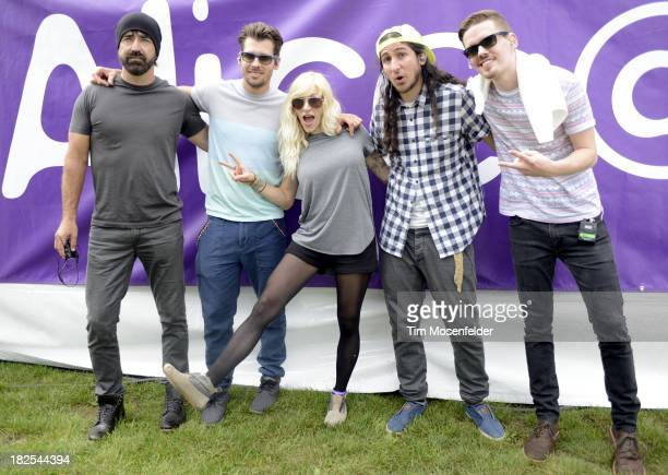 Mike Tayler Ryan Marshall Sarah Blackwood Gianni Luminati and Joel Cassady of Walk Off the Earth pose at 973 Alice Now and Zen in Sharon Meadow in...