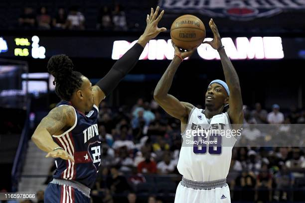 Mike Taylor of the Ghost Ballers attempts a shot while being guarded by Robert Hite of Tri-State in the second half during week seven of the BIG3...