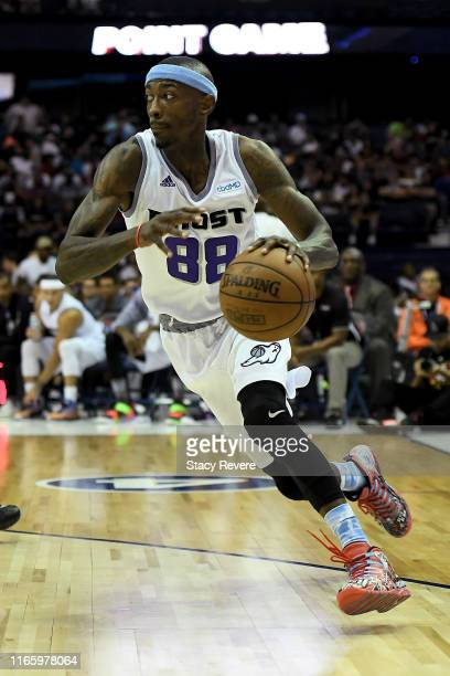 Mike Taylor of the Ghost Ballers dribbles the ball in the second half against Tri-State during week seven of the BIG3 three on three basketball...