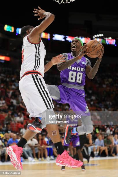 Mike Taylor of the Ghost Ballers goes up for a layup against Trilogy during week eight of the BIG3 three on three basketball league at...