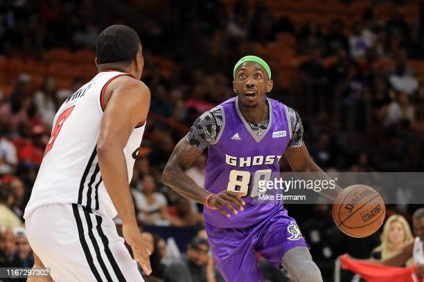 Mike Taylor of the Ghost Ballers in action against Trilogy during week eight of the BIG3 three on three basketball league at AmericanAirlines Arena...