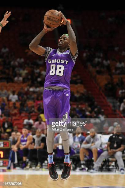 Mike Taylor of the Ghost Ballers shoots a three pointer against Trilogy during week eight of the BIG3 three on three basketball league at...