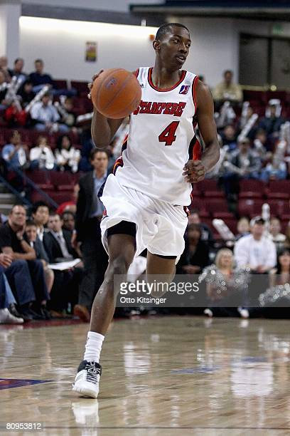 Mike Taylor of the Idaho Stampede brings the ball upcourt in Game Two of the DLeague Finals against the Austin Toros on April 24 2008 at Qwest Arena...