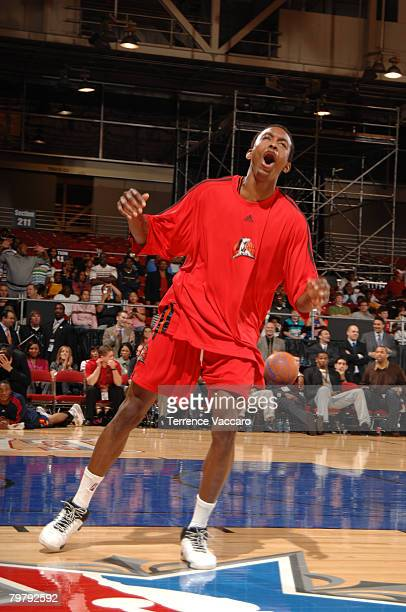 Mike Taylor of the Idaho Stampede celebrates during the Slam Dunk Contest as part of the DLeague Dream Factory Friday Night on center court during...
