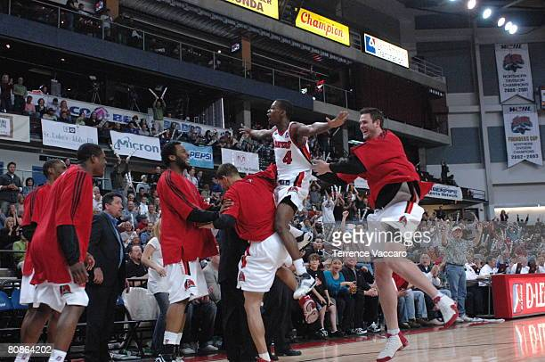 Mike Taylor of the Idaho Stampede celebrates with his teammates during Game Three of the DLeague Finals against the Austin Toros on April 25 2008 at...
