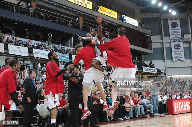 Mike Taylor of the Idaho Stampede celebrates with teammates after the play against the Austin Toros in Game Three of the DLeague Finals on April 25...