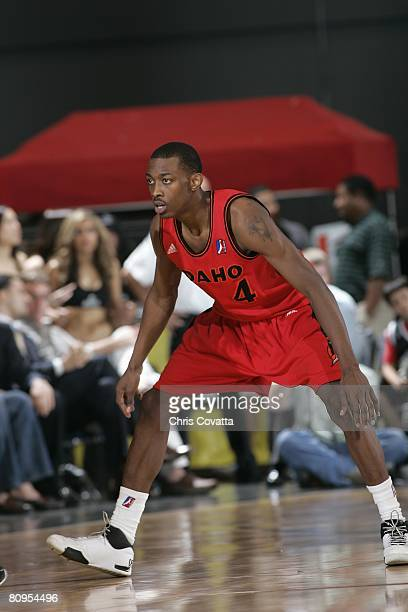 Mike Taylor of the Idaho Stampede defends against the Austin Toros in Game One of the DLeague Finals at the Austin Convention Center on April 21 2008...