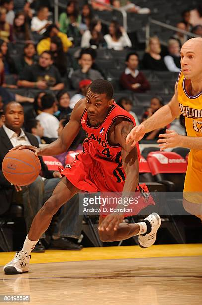 Mike Taylor of the Idaho Stampede drives to the basket against Brian Morrison of the Los Angeles DFenders at Staples Center on April 2 2008 in Los...