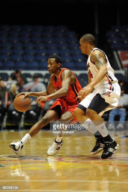 Mike Taylor of the Idaho Stampede drives upcourt during the game against the Anaheim Arsenal at The Arena at the Anaheim Convention Center on...
