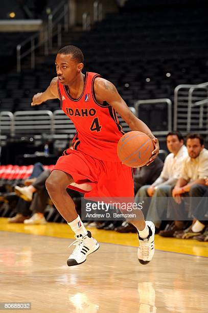Mike Taylor of the Idaho Stampede drives upcourt during the game against the Los Angeles DFenders at Staples Center on April 2 2008 in Los Angeles...