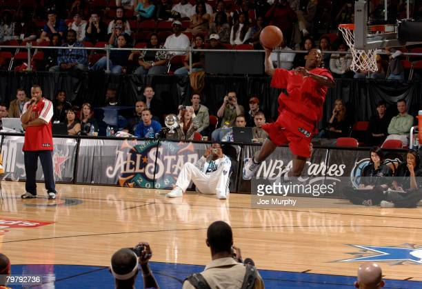 Mike Taylor of the Idaho Stampede dunks during the Dunk Contest as part of the DLeague Dream Factory Friday Night on center court during NBA Jam...