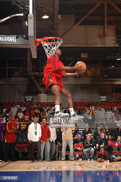 Mike Taylor of the Idaho Stampede dunks during the Slam Dunk Contest as part of the DLeague Dream Factory Friday Night on center court during NBA Jam...