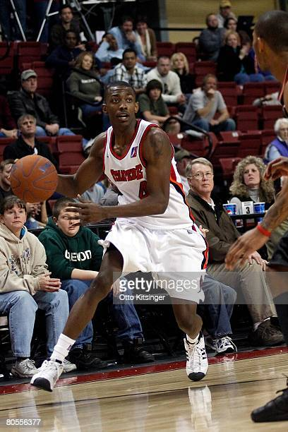 Mike Taylor of the Idaho Stampede handles the ball during the DLeague game against the Utah Flash on March 29 2008 at Qwest Arena in Boise Idaho The...