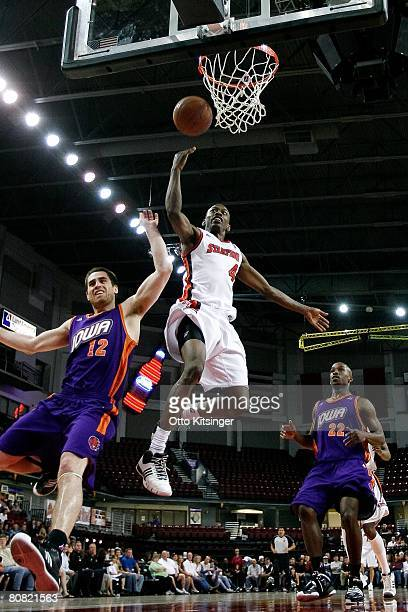 Mike Taylor of the Idaho Stampede lays a shot up during the DLeague game against the Iowa Energy on April 12 2008 at Qwest Arena in Boise Idaho The...
