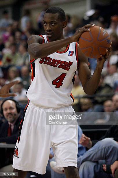Mike Taylor of the Idaho Stampede looks for a pass against the Los Angeles DFenders during the DLeague playoff game on April 18 2008 at Qwest Arena...