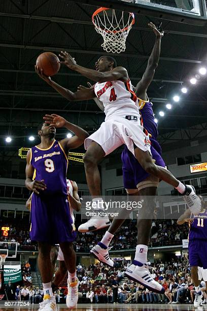 Mike Taylor of the Idaho Stampede shoots back over his head against the Los Angeles DFenders during the DLeague playoff game on April 18 2008 at...