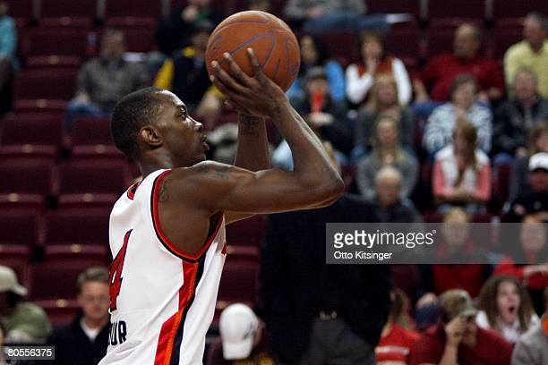 Mike Taylor of the Idaho Stampede shoots during the DLeague game against the Utah Flash on March 29 2008 at Qwest Arena in Boise Idaho The Flash won...