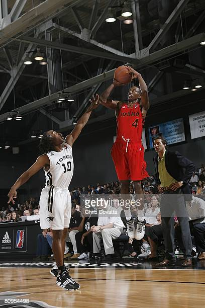 Mike Taylor of the Idaho Stampede takes a jump shot against Carldell Johnson of the Austin Toros in Game One of the DLeague Finals at the Austin...