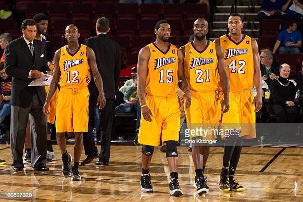Mike Taylor Orien Greene Ronald Dupree and Zack Andrews of the Los Angeles DFenders return to the court after a time out during the NBA DLeague game...