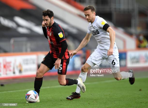 Mike te Wierik of Derby County fouls Adam Smith of AFC Bournemouth during the Sky Bet Championship match between AFC Bournemouth and Derby County at...