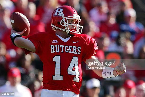Mike Teel of the Rutgers Scarlet Knights looks to throw against the Syracuse University Orange on November 25, 2006 at Rutgers Stadium in Piscataway,...