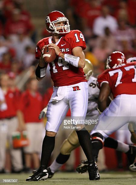 Mike Teel of the Rutgers Scarlet Knights passes against Navy during their game at Rutgers Stadium on September 7, 2007 in Piscataway, New Jersey.