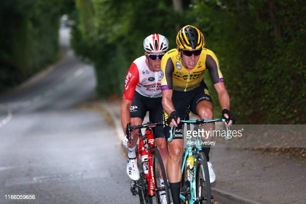 Mike Teunissen of The Netherlands and Team Jumbo - Visma / Casper Pedersen of Denmark and Team Sunweb / during the 8th Prudential RideLondon-Surrey...