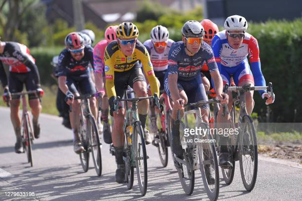 Mike Teunissen of The Netherlands and Team Jumbo - Visma / Gianni Vermeersch of Belgium and Team Alpecin-Fenix / Stefan Kung of Switzerland and Team...
