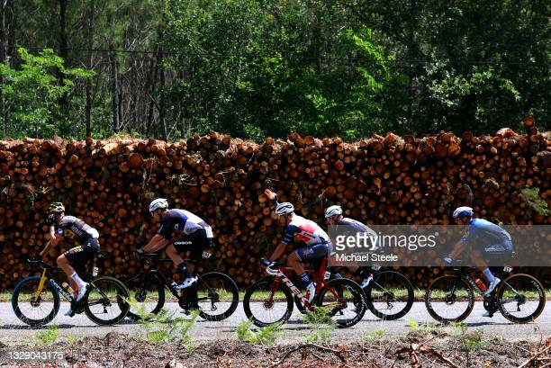 Mike Teunissen of The Netherlands and Team Jumbo-Visma, Max Walscheid of Germany and Team Qhubeka NextHash, Edward Theuns of Belgium and Team Trek -...