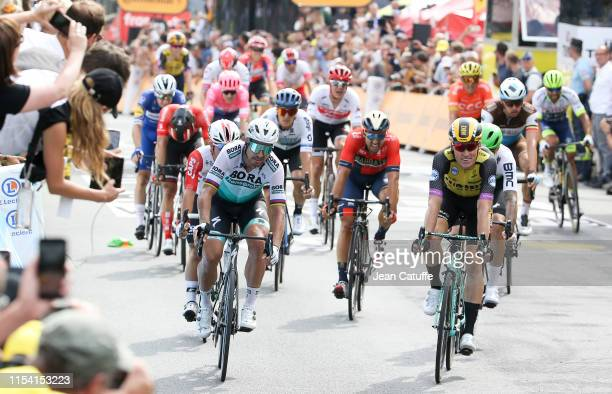 Mike Teunissen of the Netherlands and Team Jumbo-Visma wins the first stage in front of Peter Sagan of Slovakia and Bora-Hansgrohe during stage 1 of...