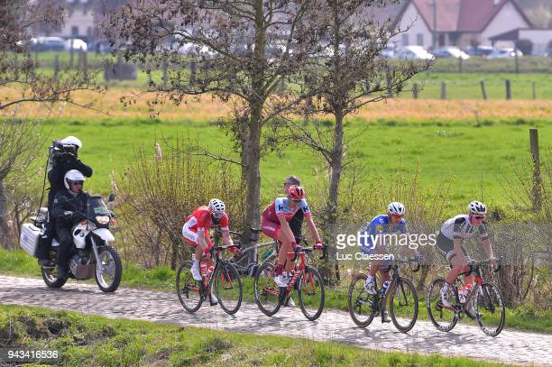 Mike Teunissen of The Netherlands and Team Sunweb / Philippe Gilbert of Belgium and Team QuickStep Floors / Nils Politt of Germany and Team Katusha...